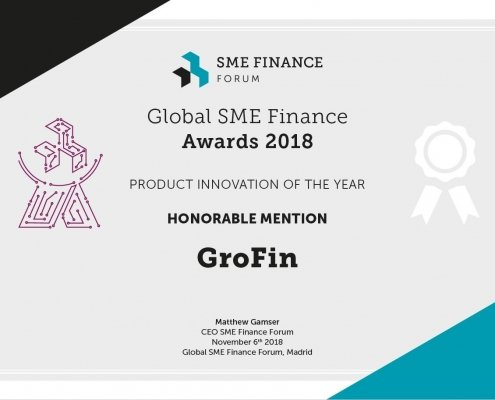 GroFin receives Honorable Mention at Global SME Finance Awards 2018
